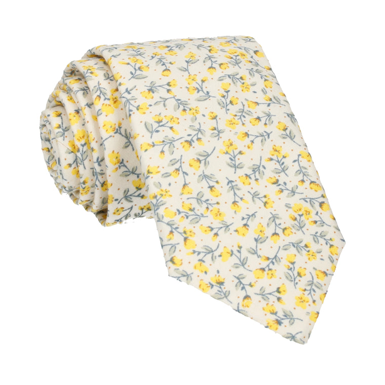 Vintage White & Yellow Ditsy Floral Tie