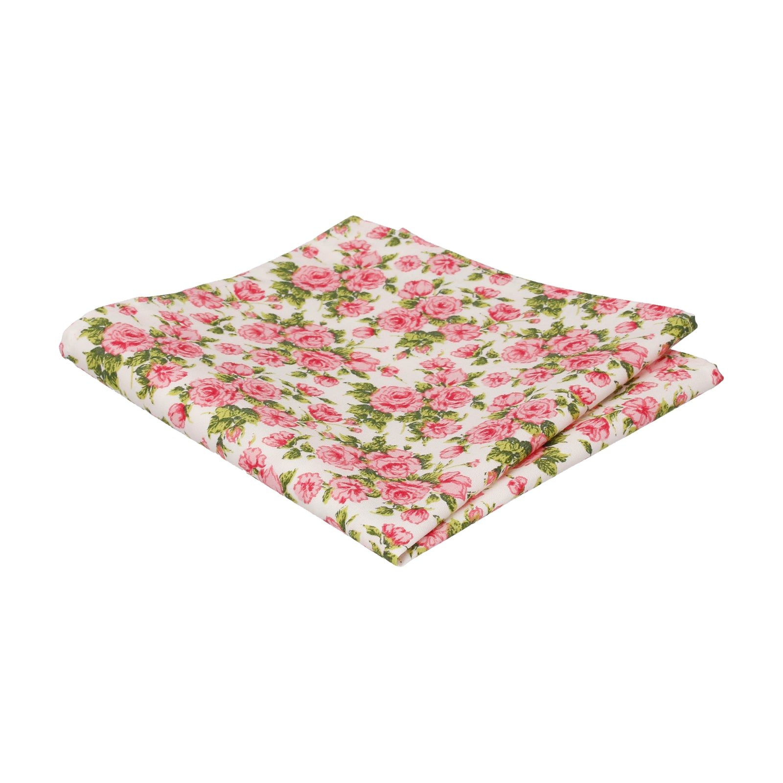 Pink Roses White Cotton Pocket Square