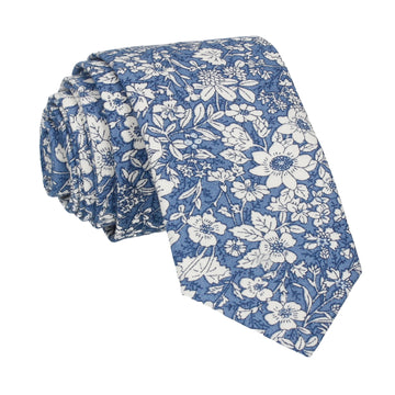 Copen Blue Floral Cotton Tie