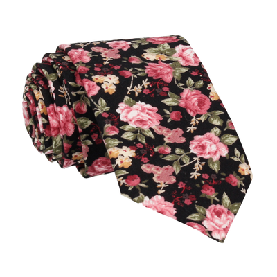 Pink Roses Black Cotton Tie