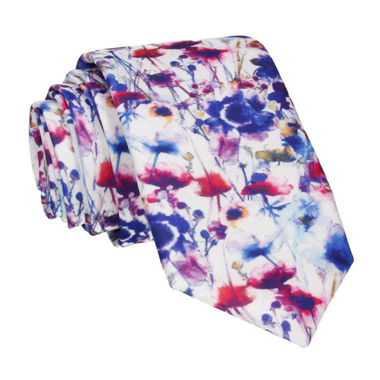 Floral Watercolour Painted Flowers Tie