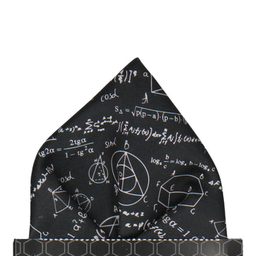 Equations Scientific Einstein Black Pocket Square