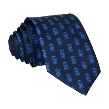 Blue Police Box Print Navy Tie