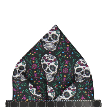 Sugar Skulls Mexican Black Pocket Square