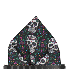 Sugar Skulls in Black Pocket Square