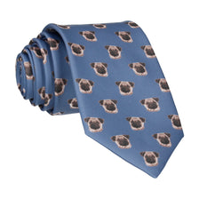 Pug Faces Steel Blue Tie