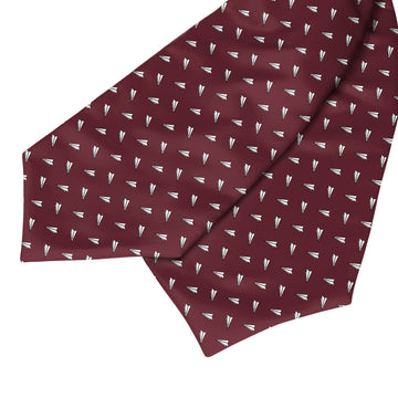 Paper Airplanes Maroon Red Ascot Cravat