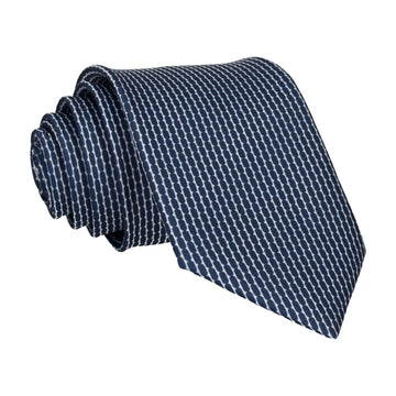 Blue Navy White Repeat Pattern Tie