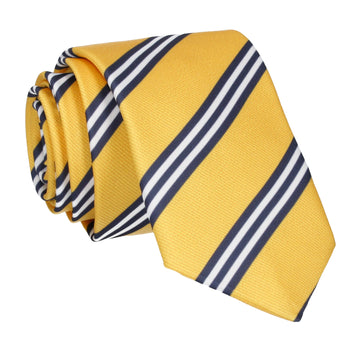 Yellow & Navy Double Stripe Tie