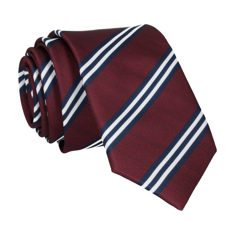 Burgundy & Navy Double Stripe Tie