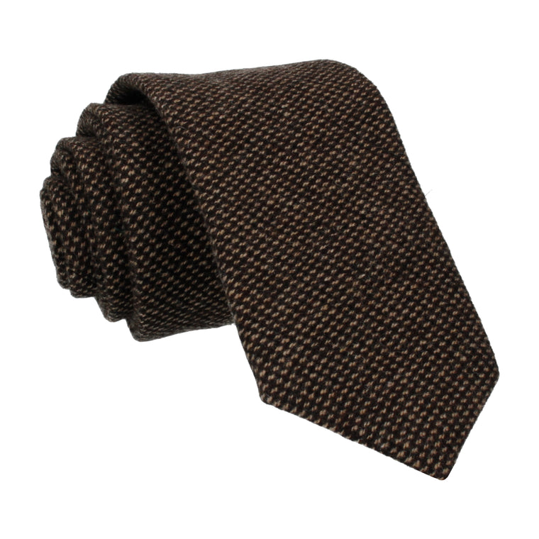 Brown Textured Wool Tie