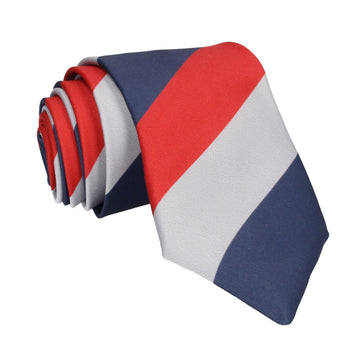 Navy Blue, Red & Grey Chunky Thick Stripe Tie