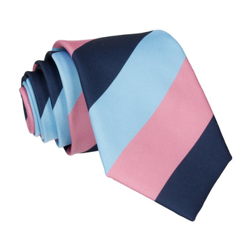 Navy, Blue & Pink Chunky Thick Stripe Tie
