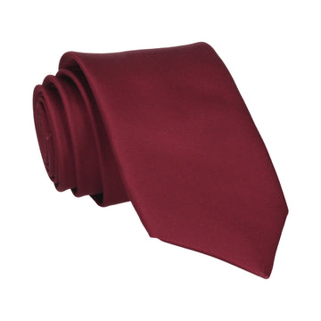 Burgundy Red Wine Plain Solid Satin Tie