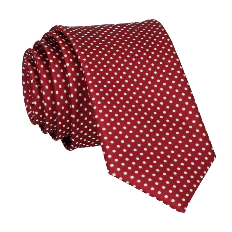 Burgundy Red Pin Dots Tie