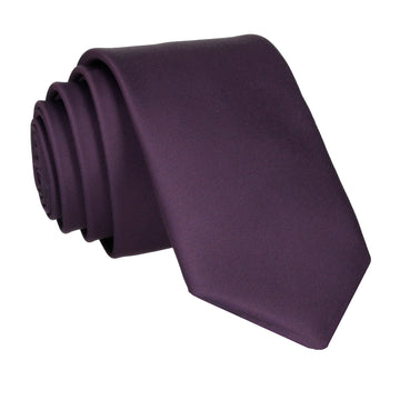 Plain Solid Aubergine Purple Tie