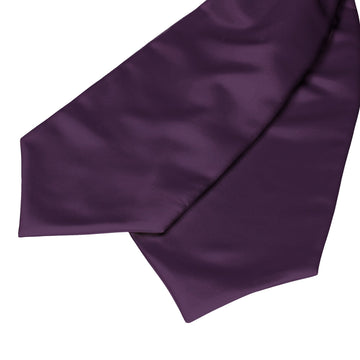 Plain Solid Aubergine Purple Ascot Cravat