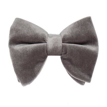 Dark Silver Velvet Large Evening Bow Tie