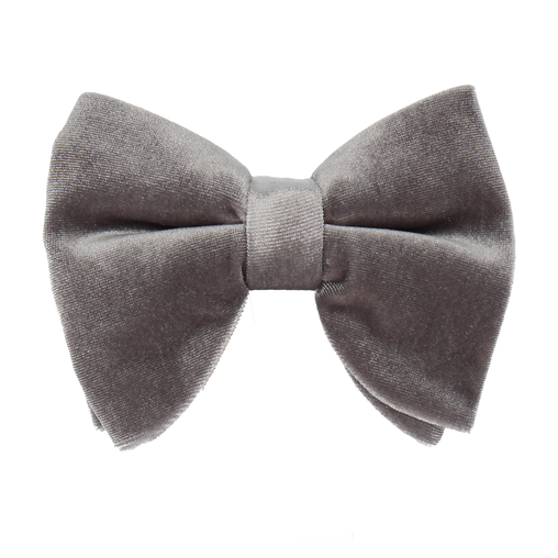 Velvet in Dark Silver Large Evening Bow Tie