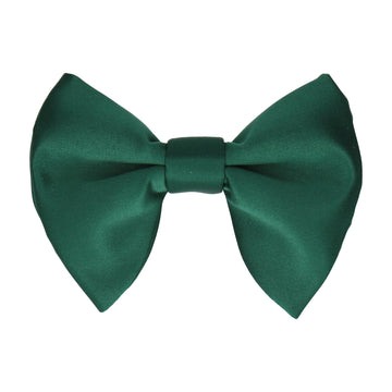 Bottle Green Solid Plain Satin Large Evening Bow Tie