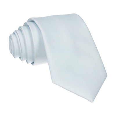 Satin Plain Solid Ice Blue Tie