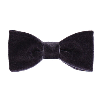 Smokey Grey Velvet Bow Tie