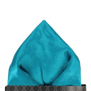 Teal Silk Velvet Pocket Square