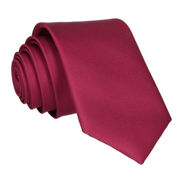 Plain Solid Bordeaux Red Tie