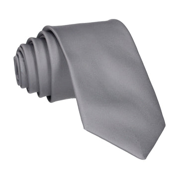 Plain Solid Thunder Grey Tie