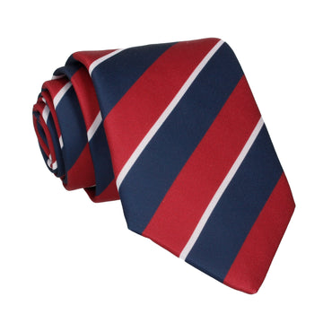 Burgundy & Navy Thick Stripe Tie