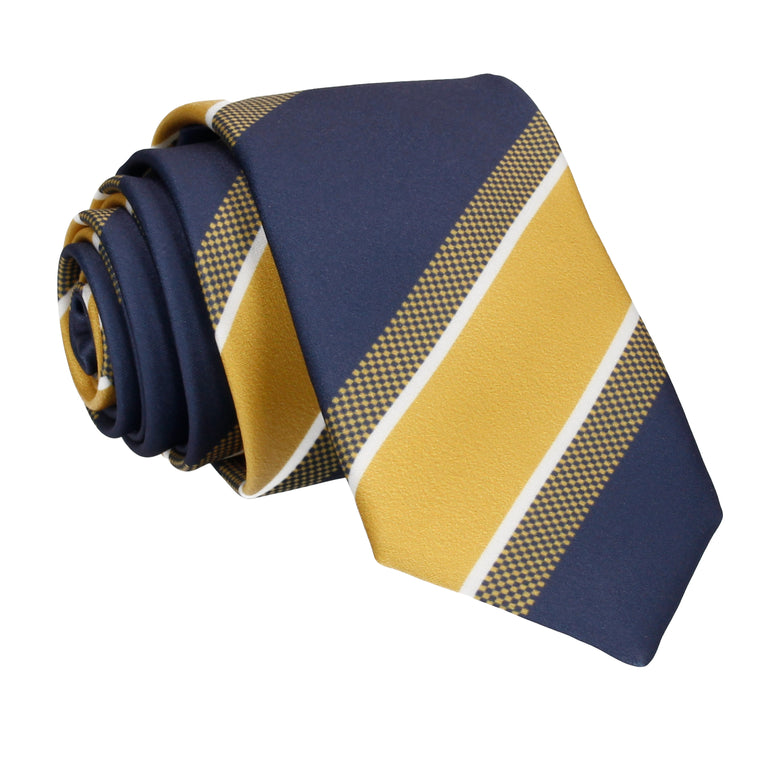 Navy Blue & Yellow Gold Fashion Stripe Tie
