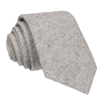 Herringbone Light Grey Textured Woollen Tie