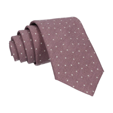Dusky Purple Dots Cotton Linen Tie
