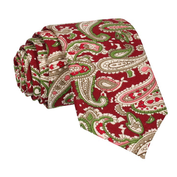 Ruby Red Traditional Paisley Cotton Tie