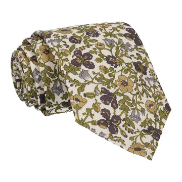 Green Floral Meadow Liberty Cotton Tie