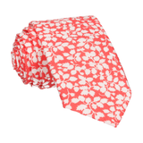Peach Coral Floral Glenjade Liberty Cotton Tie