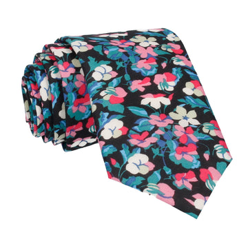 Teal Tropical Floral Liberty Cotton Tie