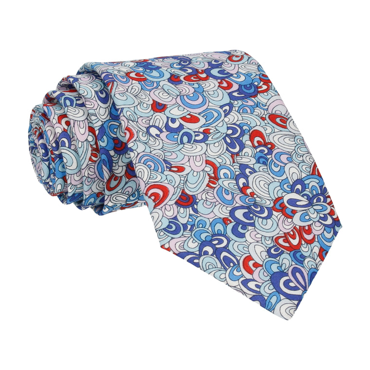Blue Loops Rainbow Rave Liberty Cotton Tie