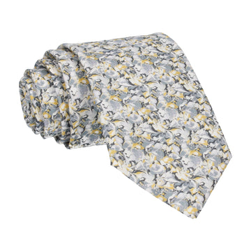 Grey & Saffron Alba Liberty Cotton Tie
