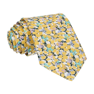 Yellow Floral Hedgerow Cotton Liberty Tie