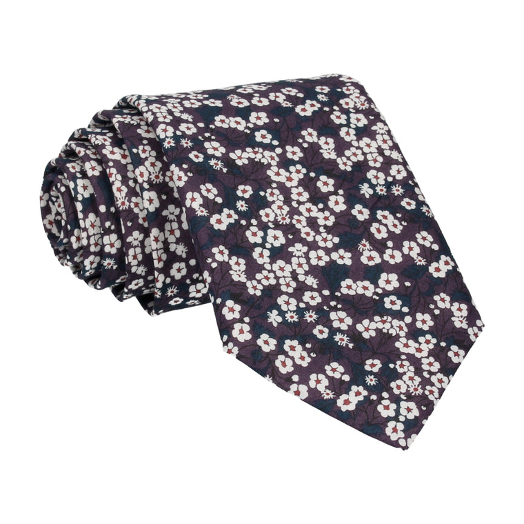 Dark Purple Small Flower Mitsi Valeria Liberty Tie