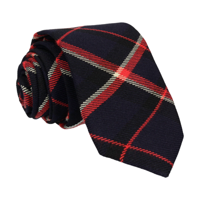 Dark Navy Plaid Tartan Tie