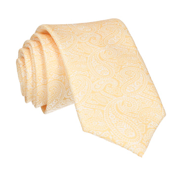 Yellow & White Paisley Print Tie