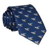 Origami Hummingbirds Navy Blue Tie