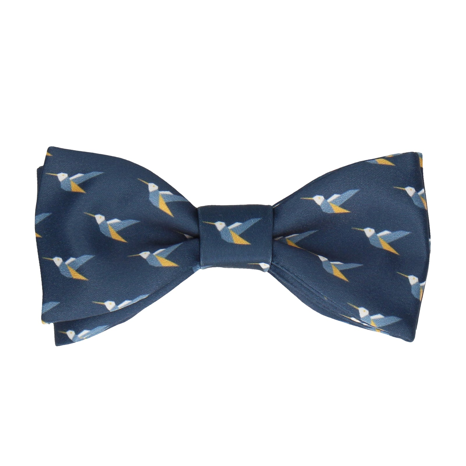 Origami Hummingbirds Navy Blue Bow Tie