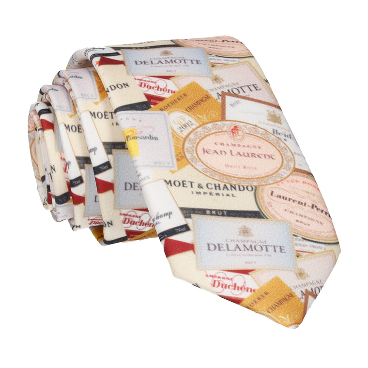 Champagne Labels Tie