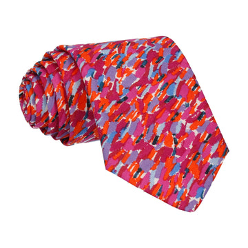Red Pink Meadow Rain Liberty Cotton Tie