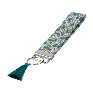 Teal Floral Tile Mosaic Liberty Fabric Keyring