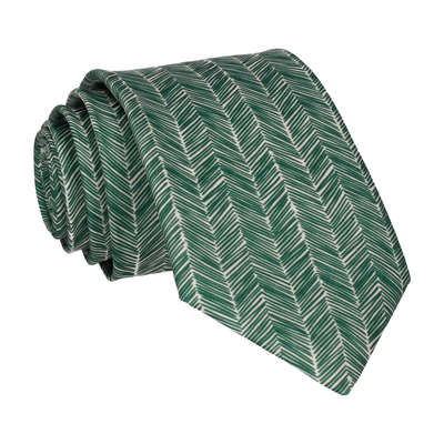 Forest Green Boho Chevron Tie