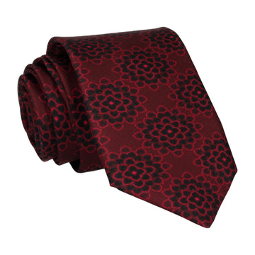 Dark Red Floral Dahlia Outline Print Tie